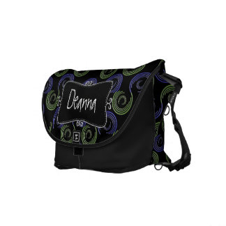 Abstract Circles Monogrammed Commuter Bag