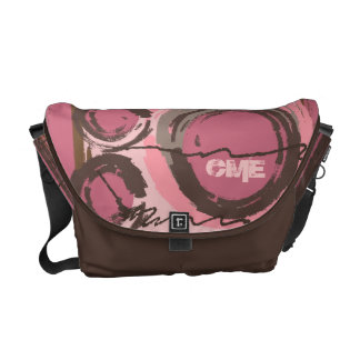 Abstract Circles Urban Monogram Pink Brown Commuter Bag