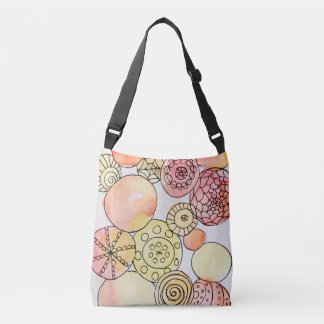 Abstract Circles Watercolor Doodles Orange Yellow Crossbody Bag