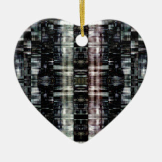 Abstract city at night ceramic heart decoration