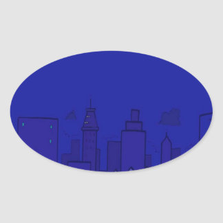 Abstract City City Of Blue Oval Sticker