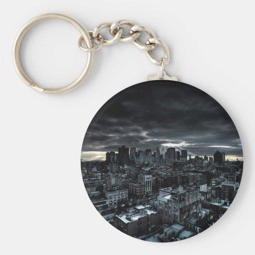 Abstract City Dark City Key Chains