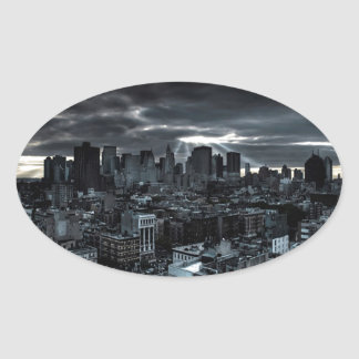 Abstract City Dark City Oval Sticker