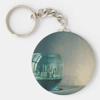 Abstract City Goldfish Bowl Key Chains