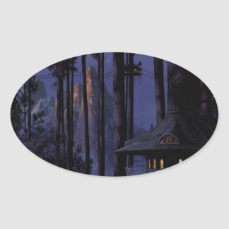 Abstract City In The Trees Oval Sticker