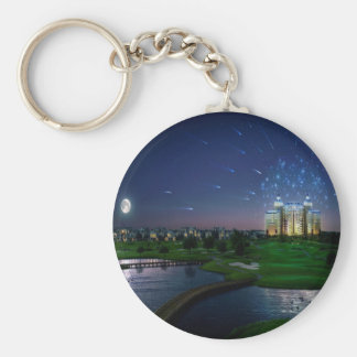Abstract City Late Celebration Keychain