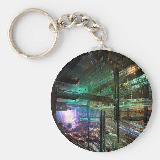 Abstract City Matrix City Keychains