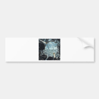 Abstract City Space Station Bumper Sticker