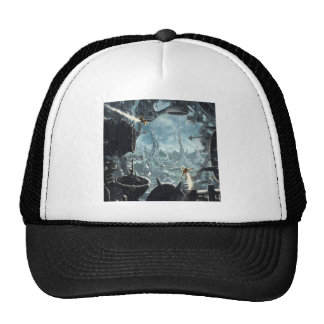Abstract City Space Station Trucker Hats