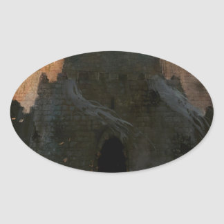 Abstract City The Castle Oval Sticker