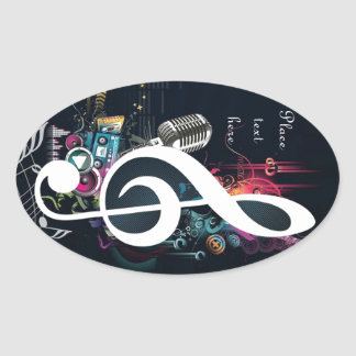 Abstract Cleft Note and Microphone Oval Sticker