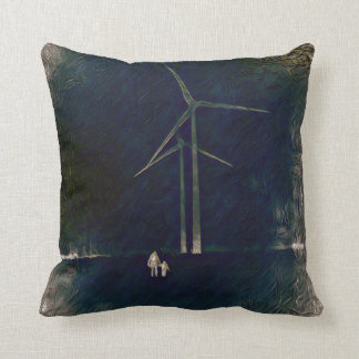 Abstract Climate Change Windmill Art Pillow Blue