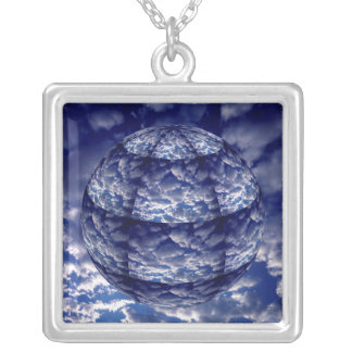 Abstract cloud 3D sphere Silver Plated Necklace