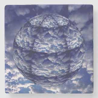 Abstract cloud 3D sphere Stone Beverage Coaster