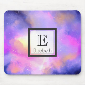 Abstract Clouds in Purple Pink and Yellow Monogram Mouse Pad