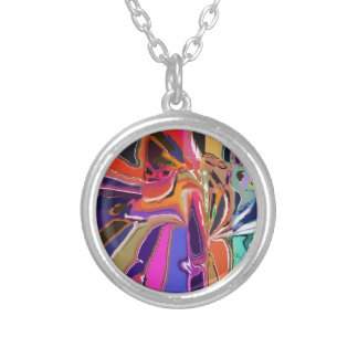 Abstract Clown Abstract Silver Plated Necklace
