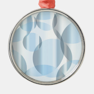 Abstract Cold Blue Circles Silver-Colored Round Decoration