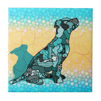 Abstract Collage Domingo the Dog ID106 Small Square Tile