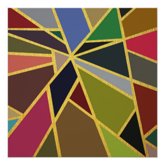 Abstract Color-Block Geometric with Faux Gold Foil
