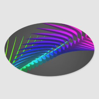 Abstract color design art oval sticker