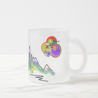 abstract color moon frosted glass coffee mug