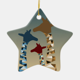 Abstract Colored Giraffe Family Ceramic Star Decoration