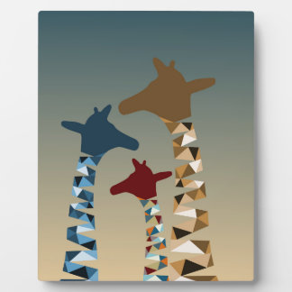 Abstract Colored Giraffe Family Plaque