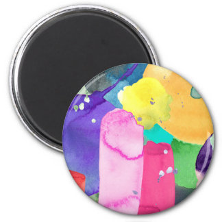 ABSTRACT COLORFUL 6 CM ROUND MAGNET