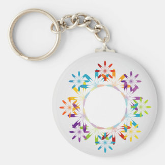 Abstract colorful background basic round button key ring