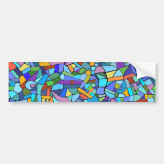 Abstract Colorful Blue Mosaic Pattern Bumper Sticker