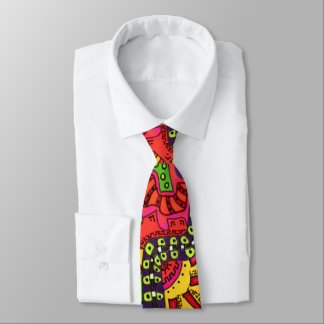 Abstract Colorful  Boho Doodle Drawing Graffiti Tie