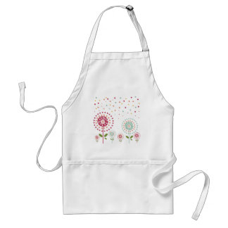 abstract colorful dandelion flowers dots apron