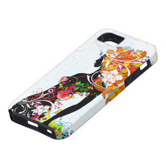 Abstract Colorful Floral Girl iPhone 5 Cases