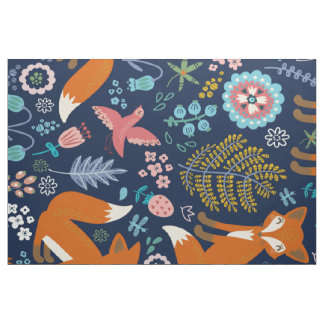Abstract Colorful Foxes & Flowers Illustration Fabric