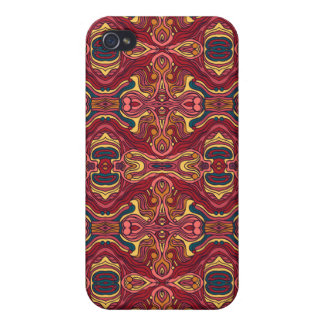 Abstract colorful hand drawn curly pattern design case for iPhone 4