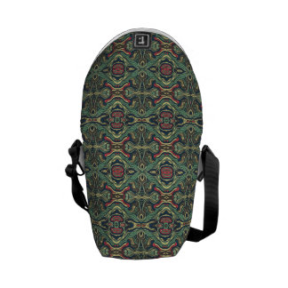 Abstract colorful hand drawn curly pattern design courier bag