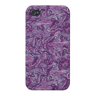 Abstract colorful hand drawn curly pattern design covers for iPhone 4