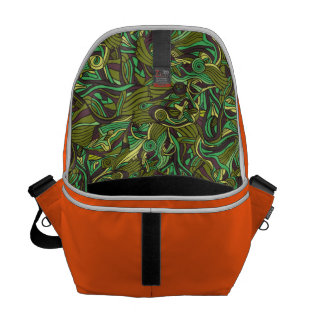 Abstract colorful hand drawn curly pattern design messenger bag