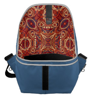 Abstract colorful hand drawn curly pattern design messenger bags