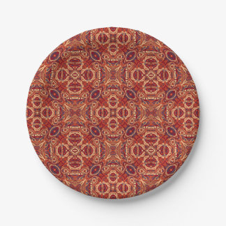 Abstract colorful hand drawn curly pattern design paper plate