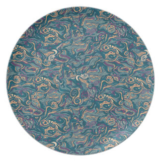 Abstract colorful hand drawn curly pattern design plate