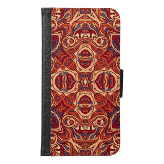 Abstract colorful hand drawn curly pattern design samsung galaxy s6 wallet case