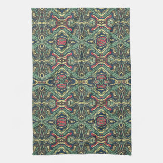 Abstract colorful hand drawn curly pattern design tea towel