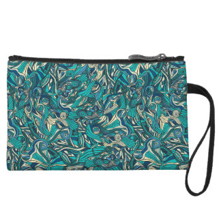 Abstract colorful hand drawn curly pattern design wristlet clutch