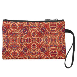 Abstract colorful hand drawn curly pattern design wristlet purse