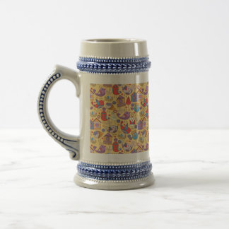 Abstract colorful hand drawn floral pattern design beer stein