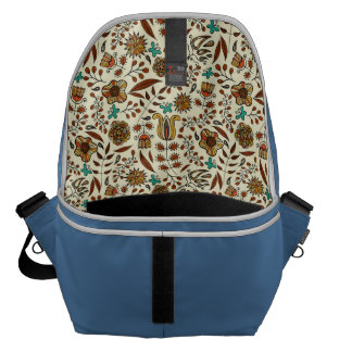 Abstract colorful hand drawn floral pattern design courier bag