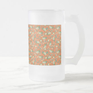 Abstract colorful hand drawn floral pattern design frosted glass beer mug