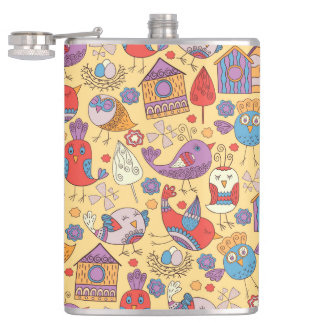 Abstract colorful hand drawn floral pattern design hip flask