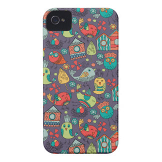 Abstract colorful hand drawn floral pattern design iPhone 4 covers